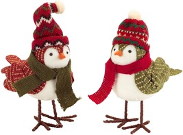 Set of 2 Whimsical Winter Birds Dressed in Hats and Scarves