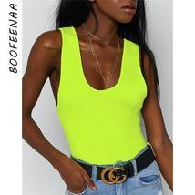 BOOFEENAA Neon Green Tank Top Bodysuit Women Sexy Sleeveless Backless Bodycon Su - $41.99