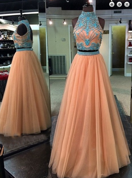 Two Pieces Evening Dress,Tulle Prom Dress,High Neck prom dress,prom dresses