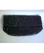 Ladies Black Sequin Evening Bag Purse Clutch - $15.00