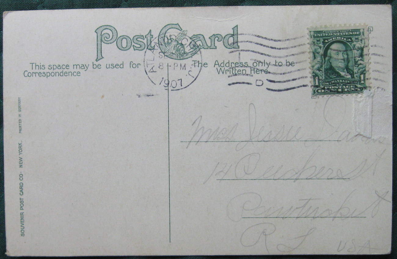 Antique, Souvenir Post Card Co, full bleed, Yachting Pier at