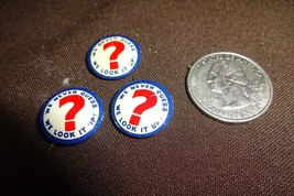 3 VTG Round Pin We Never Guess We Look It Up Red/White/Blue Encyclopedia... - $11.64