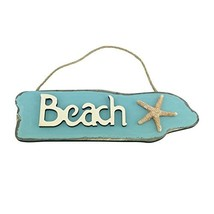 Wooden Beach Sign with Starfish - 9.5 Inches Long - $11.97