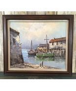 Large Vintage Nautical Seascape Paolo Stirrat Fishing Harbor Signed Oil ... - $237.59