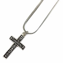 Cross Pendant Necklace Monet Vintage 18 inch Silver Tone n578 - $10.99