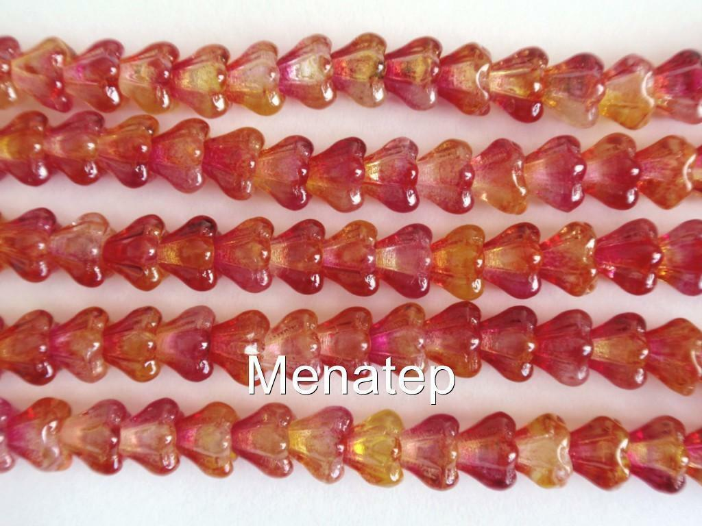 50 Firepolish Czech Glass Faceted Round Beads Dual Coated Orange Teal 4mm