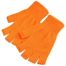 Orange 2 Pair Unisex Soft Half Finger Gloves Warm Knitted Mittens Finger... - $265,75 MXN