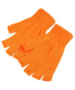 Orange 2 Pair Unisex Soft Half Finger Gloves Warm Knitted Mittens Finger... - $14.00
