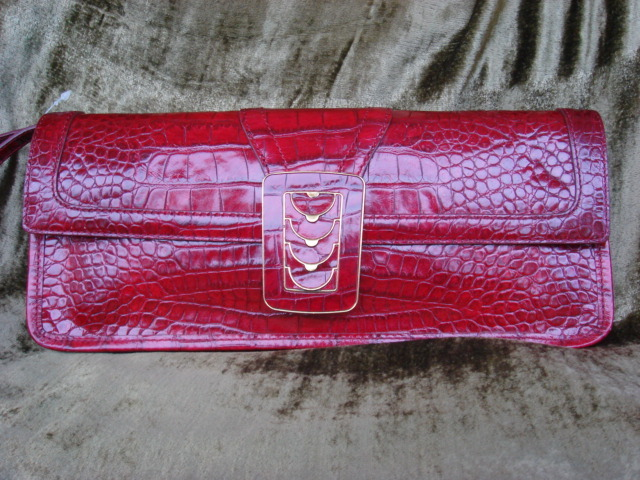 Cole Haan Croc Embossed Red Leather Clutch FREE SHIP Bonanza
