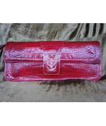 Cole Haan Croc Embossed Red Leather Clutch FREE SHIP - $149.99