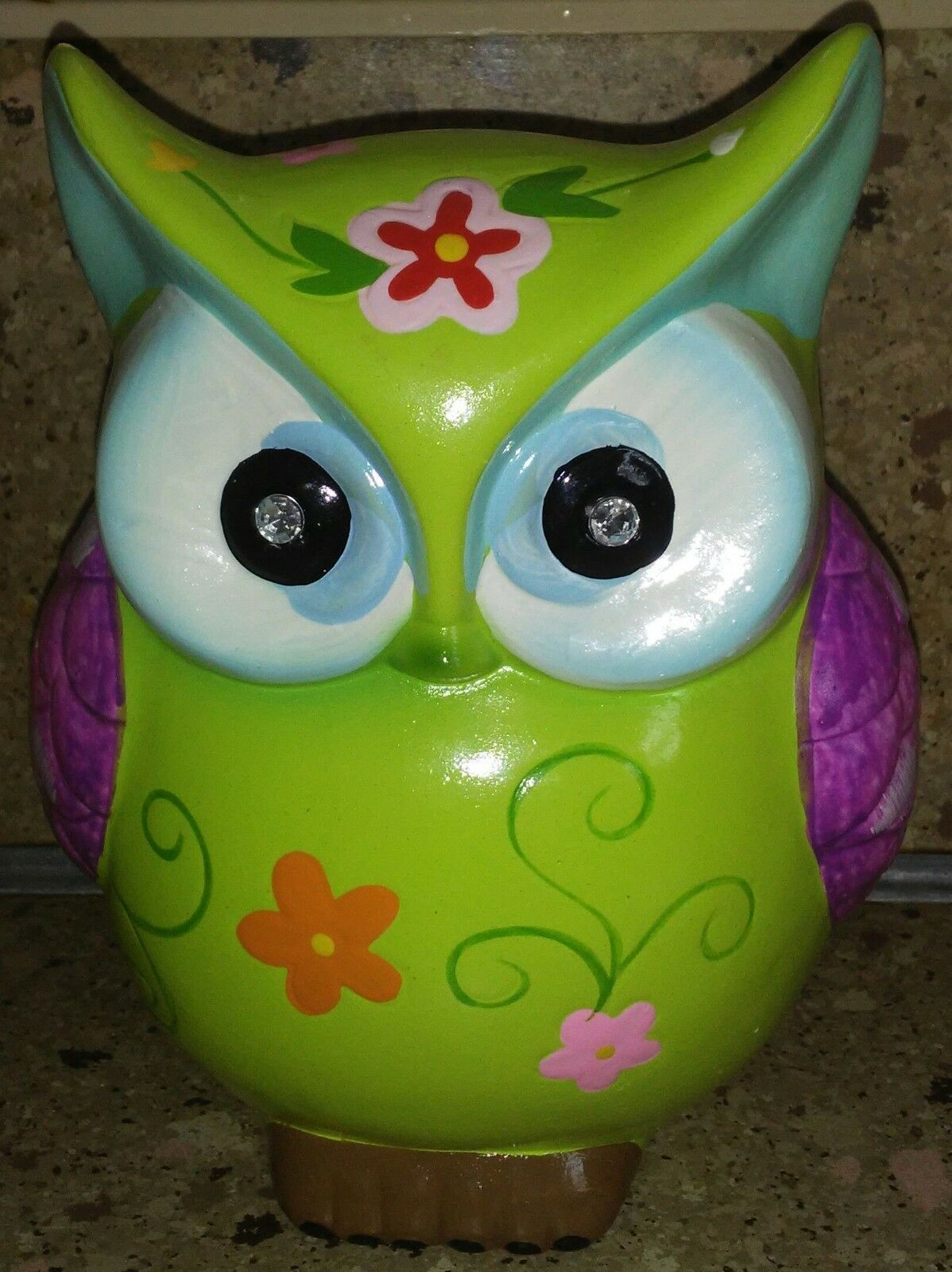 Bright Green Owl Piggy Bank Coin 6""