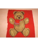 Fabric Applique Teddy Bear with Red Scarf 13 av... - $2.50