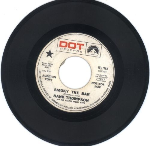 Primary image for Hank Thomspson 45 rpm Smoky The Bar