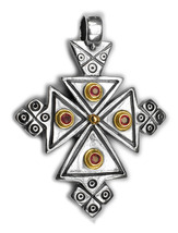 Gerochristo 5051 - Solid 18K Gold, Sterling Silver & Ruby Coptic Cross P... - $535.00