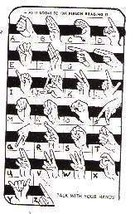 Sign Language card  Rubber Stamp alphabet plus hand signs - $19.31