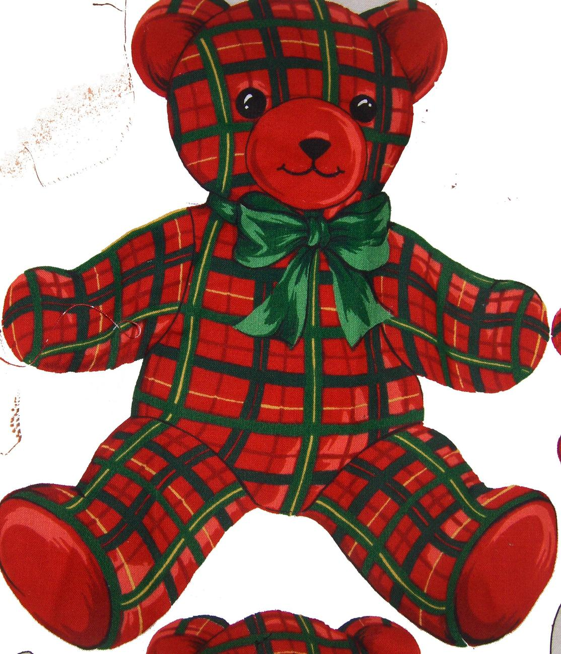 Plaid Fabric Teddy Bear Applique 10 x 8 1x2