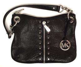 MICHAEL KORS Black Leather Shoulder Bag w/ Silver tone Rivet & Medallion - $79.00