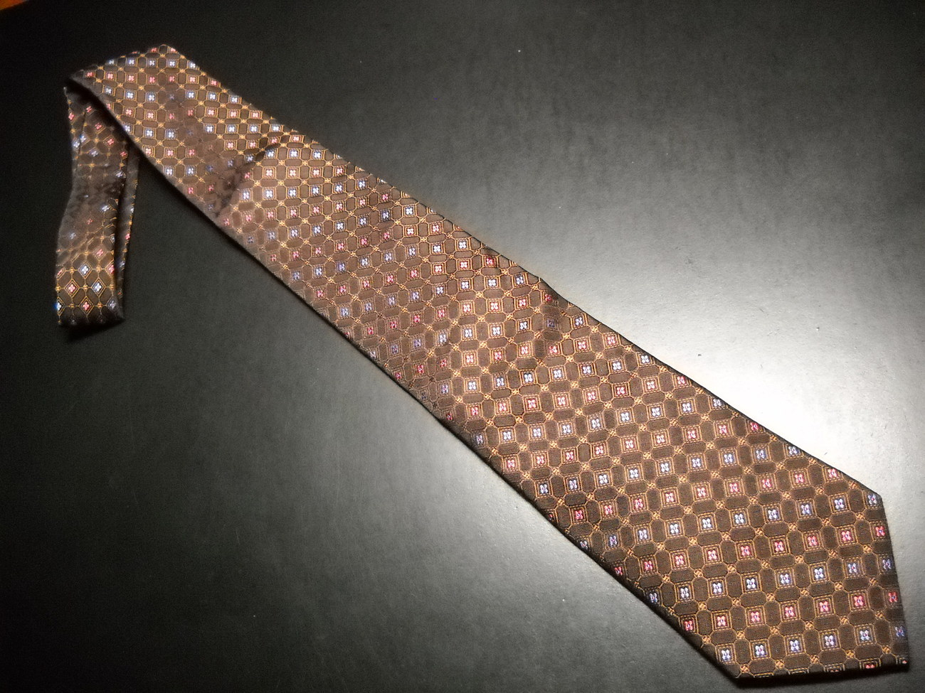 Hart Schaffner Marx Neck Tie Silk Browns with Accents of Reddish Orange and Blue