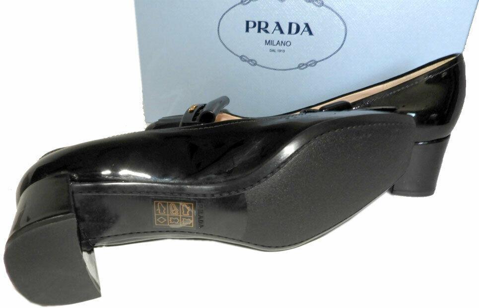Prada Kiltie Low Heel Patent Leather Pumps Gold Logo Shoes 37 Fringes image 6
