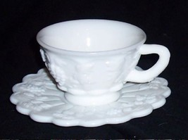 Westmoreland Paneled GRAPE White Milk Glass Cup & Saucer - $9.89