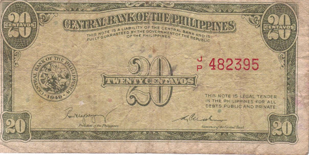 PHILIPPINE Paper Money: CENTRAL BANK PHILS. 1949 20
