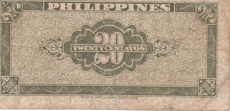 PHILIPPINE Paper Money: CENTRAL BANK PHILS. 1949 20 centavos