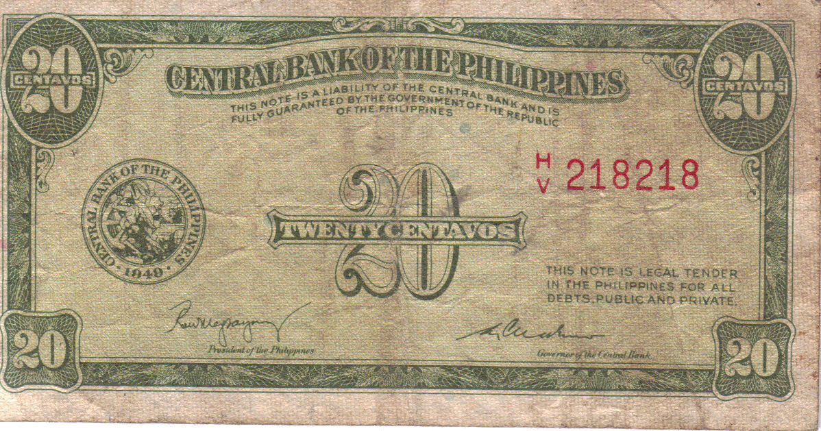 PHILIPPINE Paper Money: CENTRAL BANK PHILS. 1949 20