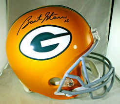 BART STARR / AUTOGRAPHED FULL SIZE GREEN BAY PACKERS THROWBACK HELMET / STEINER image 1