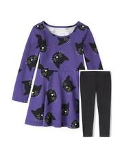 The Children's Place Black Cat Purple Dress Leggings 2T 3T NEW - $18.00
