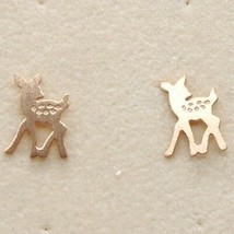 Silver Earrings 925 Laminated in Rose Gold le Favole with Fawn Puppy image 1
