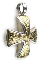 Gerochristo 5337  -  Solid 18K Gold & Silver Medieval Maltese Cross Pendant  image 2