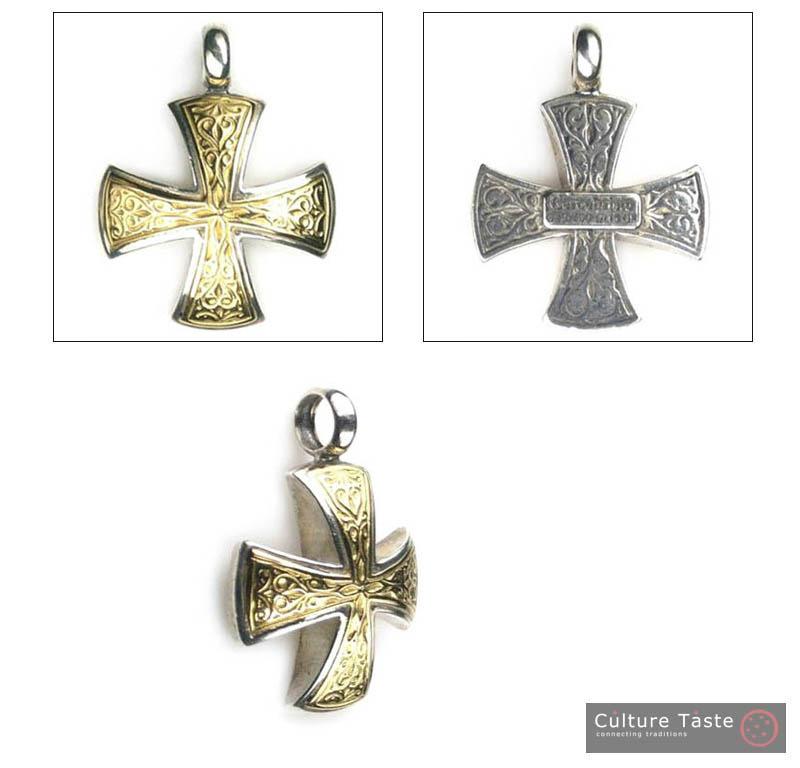 Gerochristo 5337  -  Solid 18K Gold & Silver Medieval Maltese Cross Pendant  image 4
