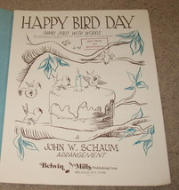 Happy Bird Day Piano Solo With Words Sheet Music, 1950 - $9.75
