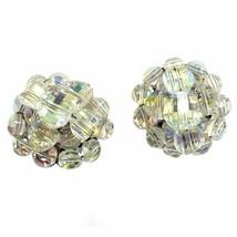 Aurora Borealis Crystal Cluster Earrings Vintage Silver Tone Clip On e900 - $8.49