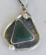 Green agate pendant D12 hand made - $40.00