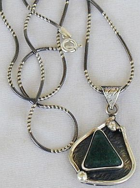 Green agate pendant D12 hand made