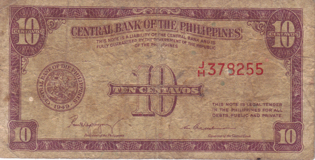 PHILIPPINE Paper Money: CENTRAL BANK PHILS. 1949 10