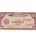 PHILIPPINE Paper Money: CENTRAL BANK PHILS. 1949 10 centavo - $2.95