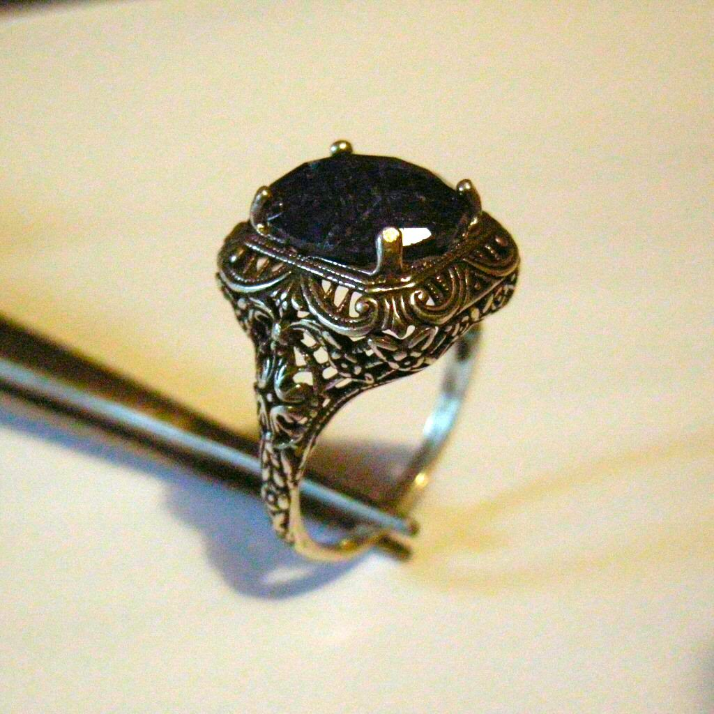 6ct opaque Sapphire Sterling Silver Ring