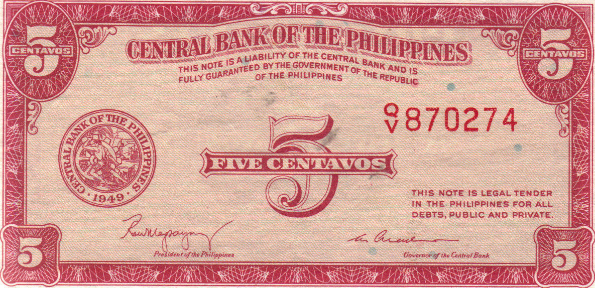 PHILIPPINE Paper Money: CENTRAL BANK PHILS. 1949 5