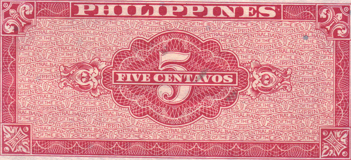 PHILIPPINE Paper Money: CENTRAL BANK PHILS. 1949 5 centavos