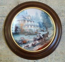 THOMAS KINKADE Collector Plate A CARRIAGE RIDE HOME W/WOODEN FRAME 3rd I... - $54.41