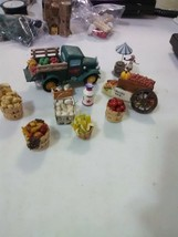 Holiday Village Farmer's Market - Truck and Cart w/Produce, Tomatoes, Po... - $11.91