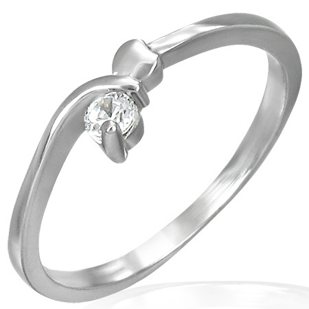 Stainless Steel Heart Bypass Solitaire Ring w/cubic zirconia