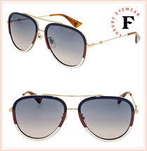 GUCCI 0062 Gold Sylvie Aviator Blue Gradient Metal Sunglasses GG0062S Un... - $266.41