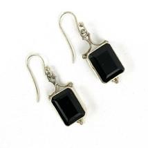 Vintage Sterling Silver 925 Onyx Black Rectangle Cut Dangling Pierced Ea... - $44.77