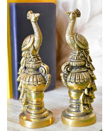Aakrati Pair of Handmade Small Sitting Brass Peacock Figurine Showpiece  - $79.99