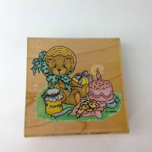 Enesco P Hillman Vtg 96 Cherished Teddies rubber stamp Hooray For Anna B... - $7.99