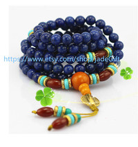 Free Shipping - Tibetan Buddhism Real Natural lapis meditation yoga 108 Beads Pr - $36.99