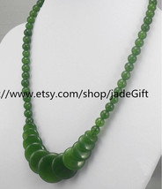 Free Shipping - natural green jadeite jade beaded necklace Natural Green Round B - $24.99